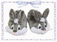 babuchas de conejo gris con blanco talla 32